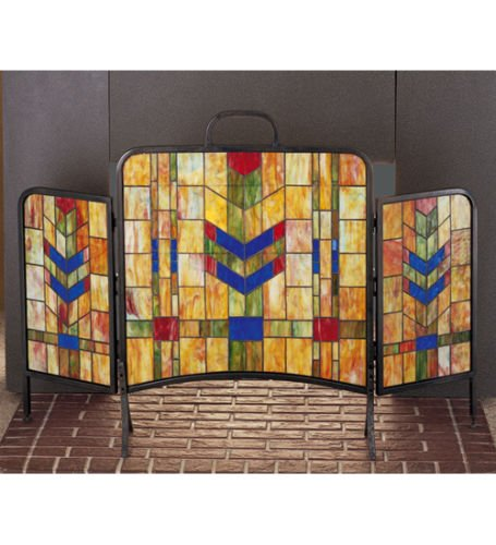 Stained Glass Prairie Wheat Folding Fireplace Screen ()