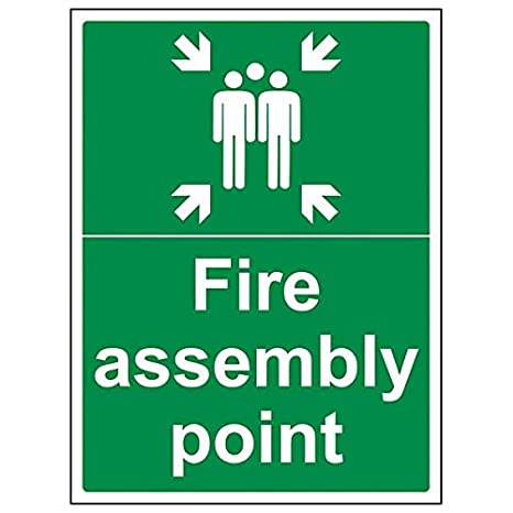 300mm x 400mm VSafety Fire Assembly Point With Family Sign 1mm Rigid Plastic