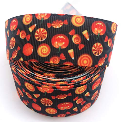 PEPPERLONELY 10 Yards 25mm (1 Inch) Lantern Lollipop Candy Halloween Printed Grosgrain Ribbon]()