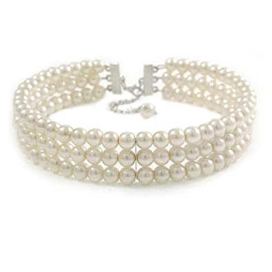 30bb883f1a9dd Avalaya 3 Tier Synthetic Pearl Collar Necklace in Silver Plating (Snow  White)