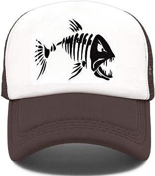 YUANBAOG Fishbone Trucker Cap Men Pesca Esqueleto Fish Bone Cap ...