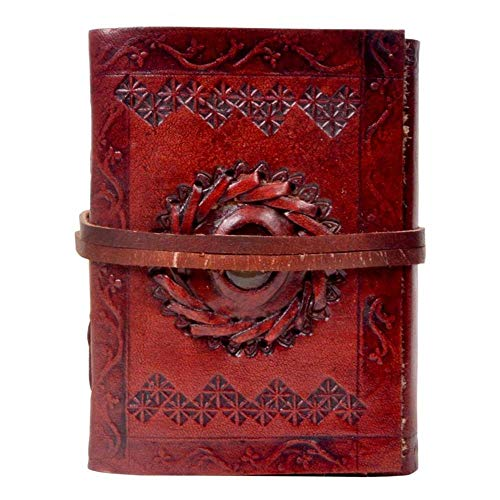- Natural Handicraft Single Medieval Stone Embossed Notebook Handmade Leather Journal Book of Shadows Handbook Blank Unlined Paper Office Diary College Book Poetry Book Sketch Book 5 x 7 Inches