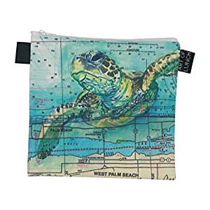 Designer Lunch Bags for Men & Women, Boys & Girls, Fashionable, Reusable, Snack & Sandwich Bags w Zipper - Design by Carly Mejeur (USA) - Loggerhead Sea Turtle