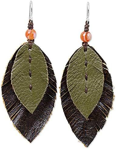 NOVICA Carnelian .925 Sterling Silver Leather Dangle Earrings 'Leafy Traditions'