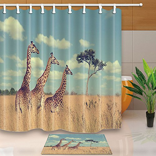KOTOM Wildlife Decor, Safari with Giraffe Crew in National park of Kenya Africa,69X70in Mildew Resistant Polyester Fabric Shower Curtain Suit With 15.7x23.6in Flannel Non-Slip Floor Doormat Bath Rugs (Giraffe Pink Kenya)