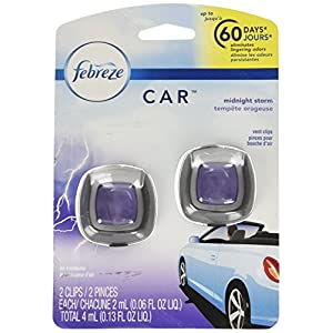 Febreze 2 mL (0.06 FL OZ) Car Vent Clips Air Freshener and Odor Eliminator, Midnight Storm Scent (2 CLIPS)