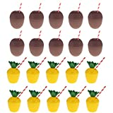 Baoblaze 20pcs Hawaii Tropical Pineapple Coconut Drink Cups & Straws Summer Beach Kids Birthday Party Supplier