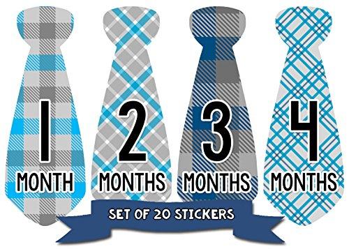 - Baby Boy Monthly Necktie Milestone Stickers - 12 Month Tie Stickers - Set of 20 Stickers