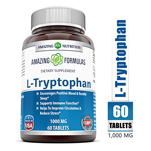 Amazing Nutrition L-Tryptophan Dietary Supplement - Natural Sleep Aid Supplements with 1000 mg of Free Form L Tryptophan - for Stress Relief, Circulation & Immune Support - 60 Tablets