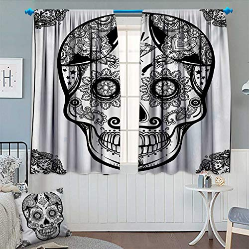 Chaneyhouse Day of The Dead Thermal Insulating Blackout Curtain Holiday Sugar Skull Print with Floral Mandala Spanish Folk Artwork Patterned Drape for Glass Door 63