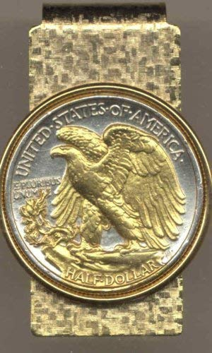 Old U.S. Walking Liberty (Eagle side) half dollar - Gorgeously 2-Toned (Uniquely Hand done) Gold on Silver coin Hinged money clip for men for dad Christmas groomsmen birthday for him for women
