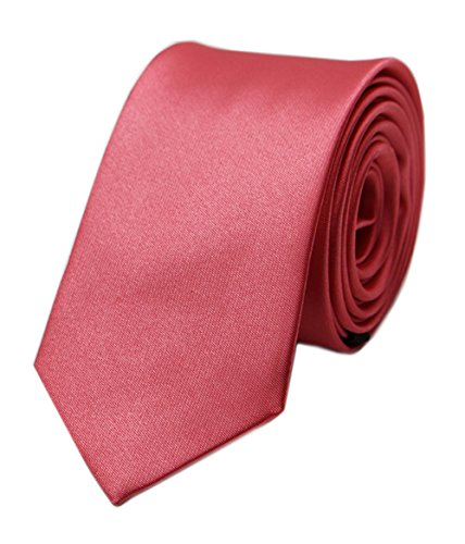 Men's New Slim Coral Red Woven Polyester Silk Tie Casual Party Wedding Necktie ()