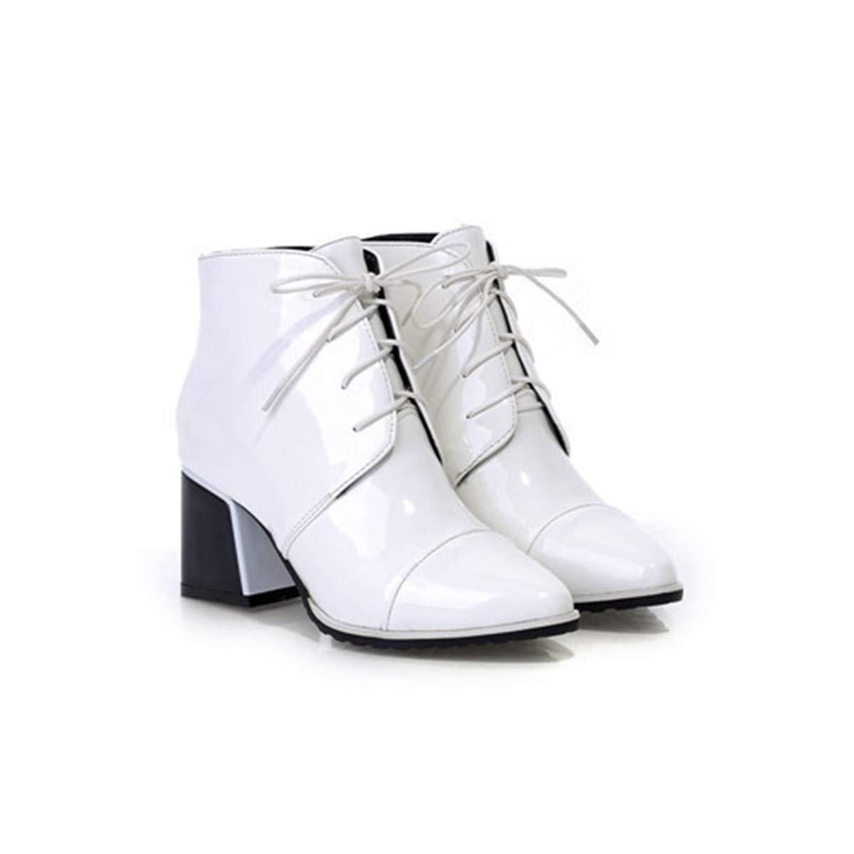 FENGJIAREN Femmes Bottes Mode Dentelle Martin Bottes Chaussures Bottes Blanc Haut Talon Chaussures Automne Hiver Blanc Bottes Rouge 4|L'ivoire 78b5ae