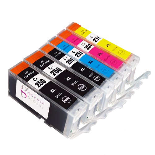 Sophia Global High Yield Compatible Ink Cartridge Replacement for Canon PGI-250XL CLI-251XL (Pack of 6: 2 PGI-250XL Large Black, 1 CLI-251XL Small Black, 1 Cyan, 1 Magenta, 1 Yellow)