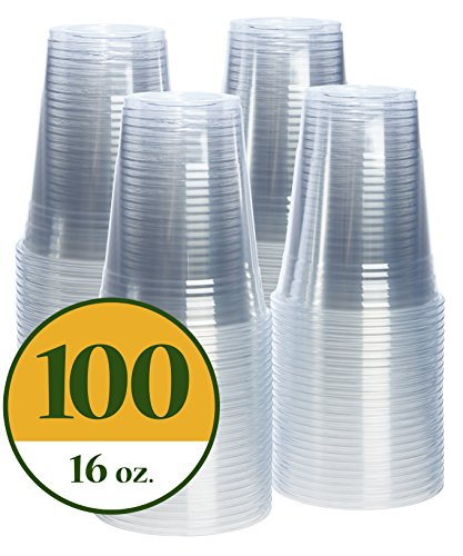 Cup Crystal (16 oz. Crystal Clear PET Plastic Cups [100 Pack])