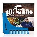 Beard Shaping Template Comb BigBro for Men/ Perfect Symmetric Lines for Mustache Goatee Side Burns Neck / Use With A Trimmer Or Razor To Style Facial Hair For Line Up