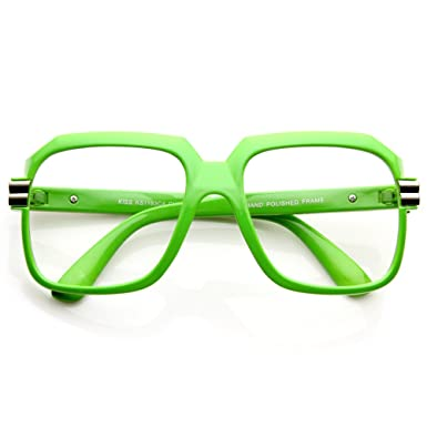 0090b2aa6a Glasses neutral KISS - OLD SCHOOL mod. RUN-DMC - optical frame VINTAGE man  woman HIP-HOP - GREEN  Amazon.co.uk  Clothing