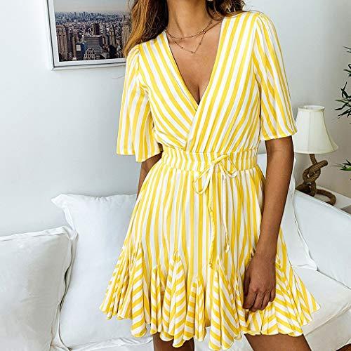 Mini abito righe a volantini corta partito short cocktail sexy donna giallo manica halter per elegante donna rr1dwq