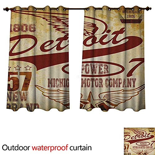 Company Kendall Wings (Anshesix Detroit Outdoor Curtains for Patio Sheer Vintage Elements Michigan Company Free Wings Transport Auto Show Themed W108 x L72(274cm x 183cm))