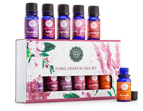 Woolzies Pure,Therapeutic Floral Essential Oil Set of 6 Rose, Jasmine, Ylang Ylang, Geranium, Lavender, Neroli