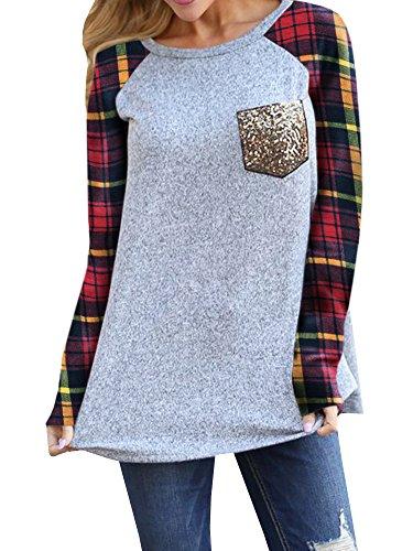 Coutgo Women's Plaid Sleeve Tunic Long Sleeve Sequins Pocket Detail Shirts Patchwork Blouse Tops