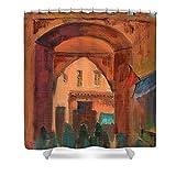 Pixels Shower Curtain (74'' x 71'') ''Fez Town Scene''