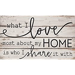 What I Love Most About My Home White Wash 24 x 14 Inch Solid Pine Wood Pallet Wall Plaque Sign