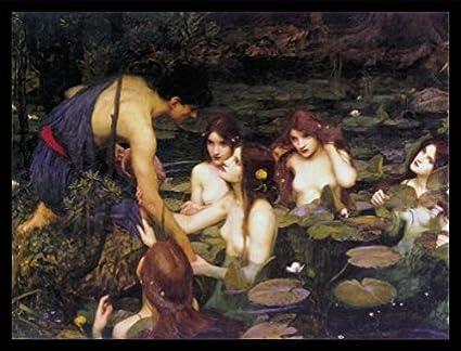80 x 60cm Ila E Le Ninfe 1896 Nero John William Waterhouse Stampa dArte e Cornice MDF