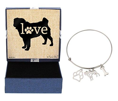 - Pug Bracelet Gift Love Dog Breed Adjustable Bangle Charm Silver-Tone Bracelet Gift Pug Owner Jewelry Box Keepsake Idea A Rescue Dog Mom