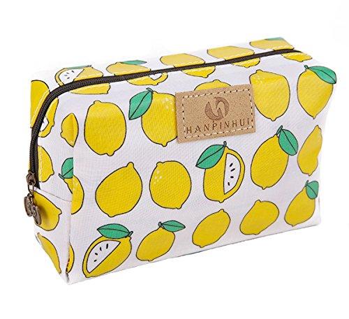 Cute Travel Makeup Pouch Cartoon Printed Toiletry Cosmetic Bag for Girls, Women (Lemon) ()