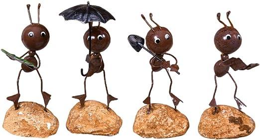 LIOOBO 4pcs Modelos de Hormigas artesanales de Hierro adorables exquisitos para la decoración de Escritorio del automóvil en casa (patrón Aleatorio): Amazon.es: Jardín