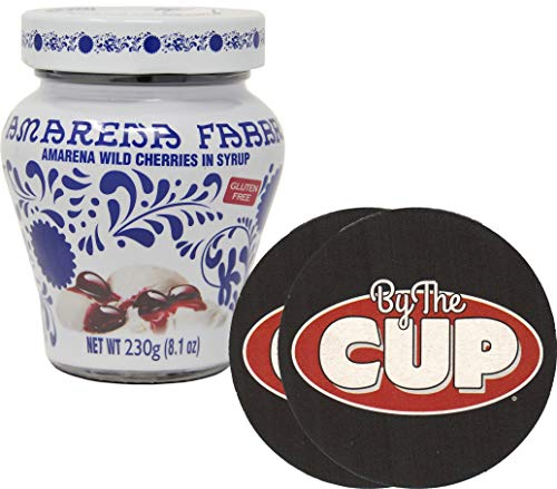 Fabbri Amarena Wild Cherries In Syrup 8.1 Ounce Opaline Jar with By The Cup Cocktail Coasters