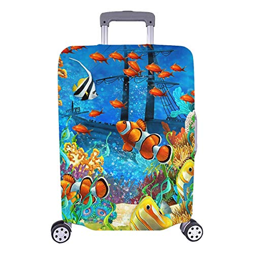 InterestPrint Tropical Coral Reef Fishes Ocean Sea Life Travel Luggage Cover Suitcase Baggage Protector Fits 26
