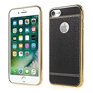 PU Leather Coated Electroplated TPU Back Cover iPhone 7 - Black