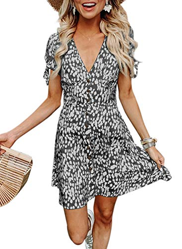 - BTFBM Women Summer Printed V Neck Button Down Casual Party Short Dress with Tie Sleeve (Black, Small)