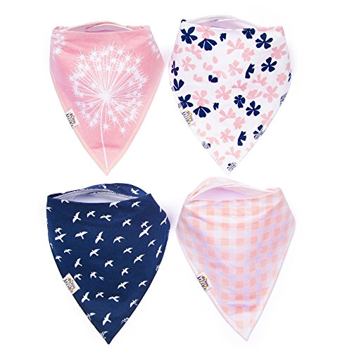 My Mini McGee Baby Bandana Drool Bibs with Adjustable Snaps, 4 Pack, for Girls, Infants and Toddlers, Blossom Collection, Baby Gift