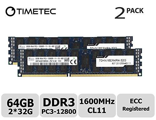 Timetec Hynix 64GB Kit (2x32GB) DDR3 1600MHz PC3-12800 Registered ECC 1.5V CL11 4Rx4 Quad Rank 240 Pin RDIMM Server Memory RAM Module Upgrade (64GB Kit (2x32GB))
