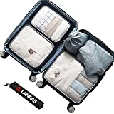 Travel Accessories,Lanivas 7 Various Size Compression Carry On Luggage Toilery Organizers Grey