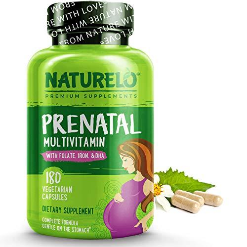 NATURELO Prenatal Multivitamin with Gentle Chelated Iron, Methyl Folate, Plant Calcium & Choline – Vegan, Vegetarian…