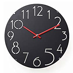 A.Cerco 12inch Minimalist Cutout Numerals Designers Silent Battery-Operated Round Analog Decorative Wall Clock - Black