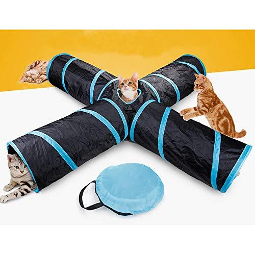 Enmayode 4-Wege-Katzentunnel, geräumig und reißfest, knisterndes Katzenspielzeug-Röhrchen mit Aufbewahrungstasche für…