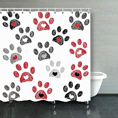 (ong8 Black red paw Print Hearts Animals Wildlife paw Animals Wildlife Backgrounds Textures paw Backgrounds Textures Shower Curtain Polyester Fabric Bathroom Decor Sets with Hooks 60 x 72 Inches)