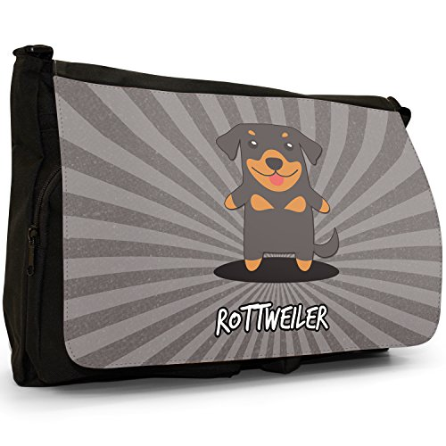 School Laptop Black Cartoon Rottie Messenger Rott Large Dogs German Rottweiler Canvas Shoulder Bag UA8xwUH
