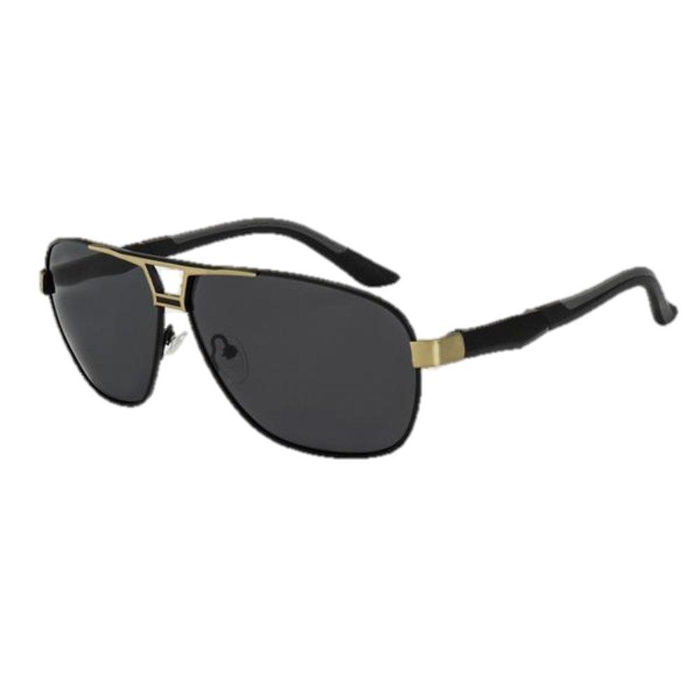 Amazon.com  ROYAL GIRL Men s Sunglasses, 100% Polarized Sunglasses oculos  de sol masculino SS509 (C1-black-gold-grey)  Clothing 0a374a7f52