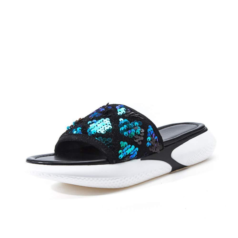 Fuxitoggo Pantoufles Confortables à Semelles épaisses pour Femmes d'été - Wild Chaussures pour Femmes (Couleuré   Vert, Taille   42)