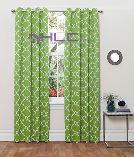 HLC.ME Lattice Print Thermal Insulated Blackout Window Curtain Panels, Pair, Chrome Grommet Top, Lime Green