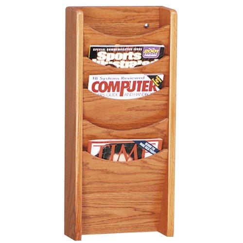 - Buddy Products Solid Oak 5 Pocket Literature Display Rack, 3.75 x 24 x 11 Inches, Medium Oak (0611-11)