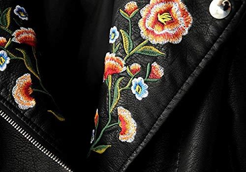 Autunno Similpelle Lunghe Cappotto Giacca Invernali Biker Stlie Outerwear Fashion Vintage Donna Fiori Schwarz Jacket Eleganti Pelle Ricamo Grazioso Maniche Tendenza In Casual xnSnPqpgw