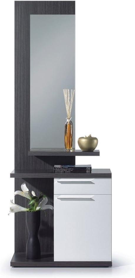 Habitdesign 016746G - Recibidor con espejo, color Gris Ceniza y Blanco Brillo, dimensiones 186 x 61 x 29 cm de fondo