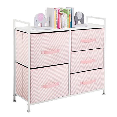 mDesign Wide Dresser Storage Tower Furniture - Metal Frame, Wood Top, Easy Pull Fabric Bins - Organizer for Kid's Bedroom, Hallway, Entryway, Closets, Dorm - Chevron Print, 5 Drawers - Pink/White